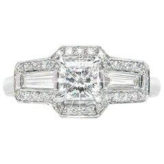 0.71 Carat Radiant Baguette Diamond Three-Stone Cluster Ring Natalie Barney