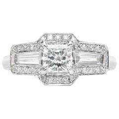 0.71 Carat Radiant Baguette Diamond Three-Stone Cluster Ring Natalie Barney