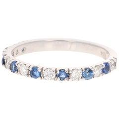 0.71 Carat Sapphire Diamond 14 Karat White Gold Band