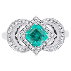 0.71 Ct No Oil Russian Emerald Engagement 18K Gold Ring