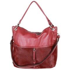 0714 Burgundy Leather & Pony Hair NATASHA SHOULDER BAG