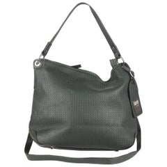 0714 Green Leather Embossed Chain Pattern Pippa Tote Shoulder Bag
