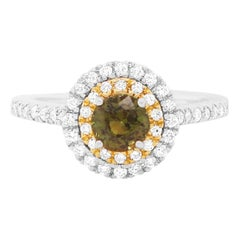 0.72 Carat Natural Color Change Round Alexandrite White Diamond Ring 18K Gold