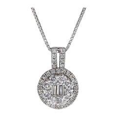 0.72 Carat Baguette and Round Cut Diamond Pavé Pendant Necklace in 18 Karat Gold