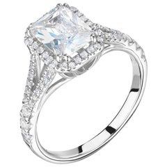 0.72 Carat Cushion Cut Diamond Halo Platinum Ring