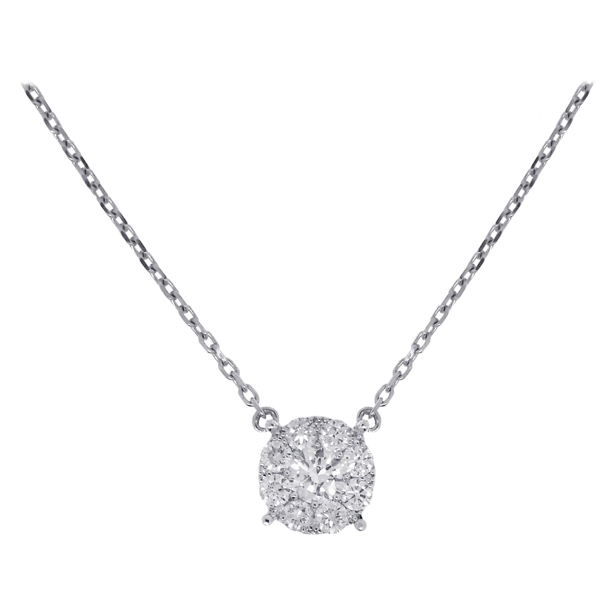 0.72 Carat Diamond Cluster Pendant Necklace