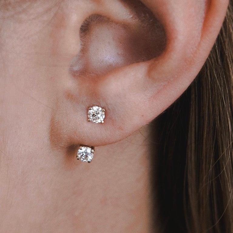 0.72 Carat Diamond Earrings Ear Jackets in 14 Karat Yellow Gold - Shlomit Rogel In New Condition For Sale In Ramatgan, IL