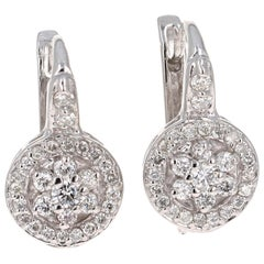 0.72 Carat Diamond Floret Design 14 Karat White Gold Earrings