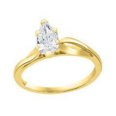 0.72 Carat Diamond Solitaire Pear Shape VS/E Engagement Ring 14 Kt Yellow Gold