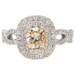 0.72 Carat Fancy Yellow Diamond Cocktail Ring