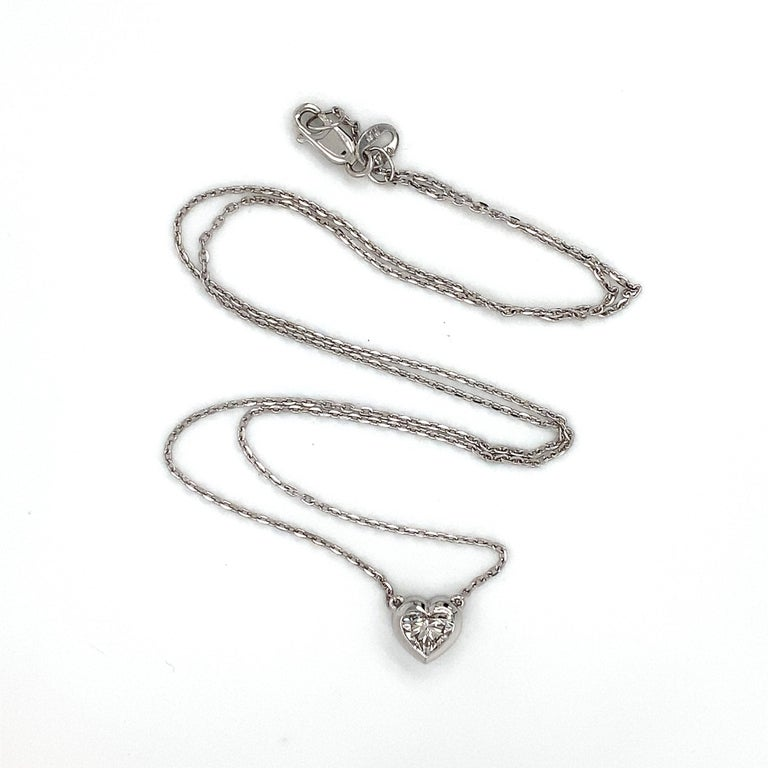 Heart Cut 0.72 Carat GIA Heart Shaped Diamond 18 Carat White Gold Necklace For Sale