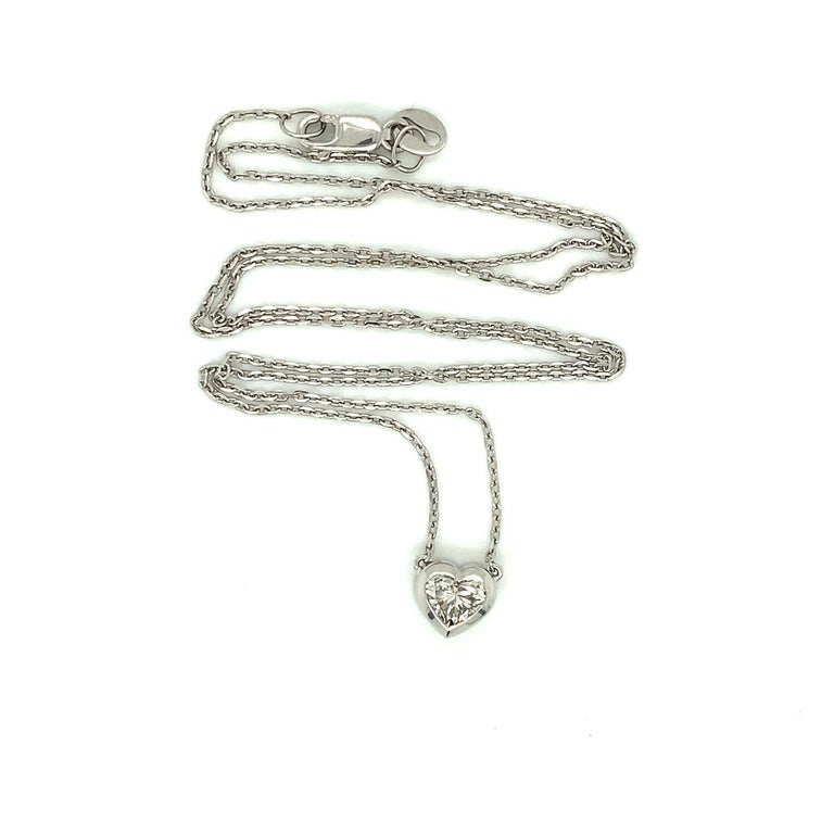 0.72 Carat GIA Heart Shaped Diamond 18 Carat White Gold Necklace In New Condition For Sale In Brisbane, QLD
