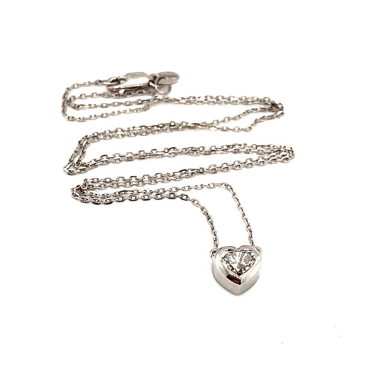 Women's 0.72 Carat GIA Heart Shaped Diamond 18 Carat White Gold Necklace For Sale