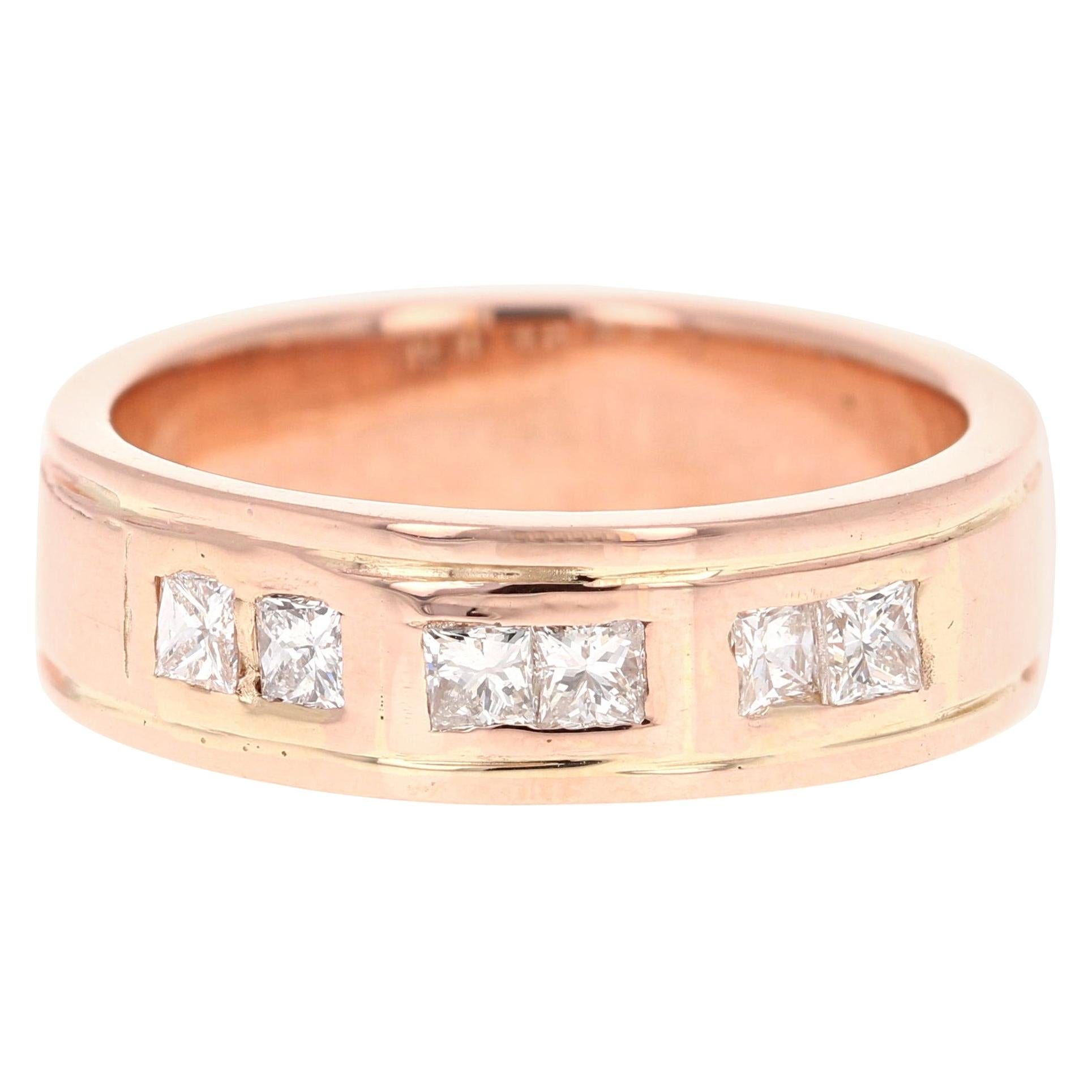 0.72 Carat Men's Diamond 14 Karat Rose Gold Wedding Band