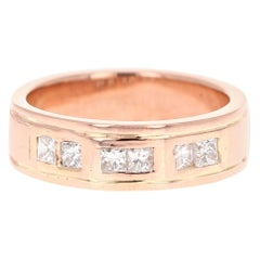 0.72 Carat Men's Diamond 14 Karat Rose Gold Wedding Band
