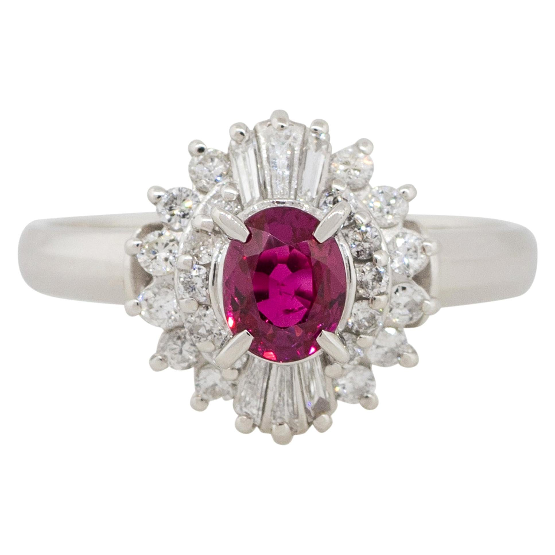 0.72 Carat Oval Ruby Center Diamond Cocktail Ring Platinum in Stock