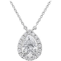 0.72 Carat Pear Shape Diamond Halo Pendant Necklace
