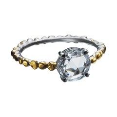0.72 Carat Rose Cut Diamond Ring in Platinum and 24 Karat Gold