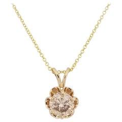0.72 Carat Round Diamond Pendant 14 Karat Gold