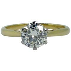 0.72 Carat Vintage Solitaire Diamond Engagement Ring, Brilliant Cut Diamond
