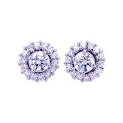 0.72 Ct Diamonds 18kt White Gold Fine Stud Earrings