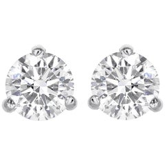 0.72 Total Carat Weight Round Brilliant Cut Diamond Stud Earrings