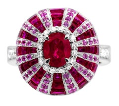 0.73 Carat Oval Ruby Pink Sapphire Diamond 14Karat White Gold Dome Cocktail ring