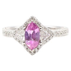 0.73 Carat Pink Sapphire and Pave Diamond White Gold Cocktail Ring