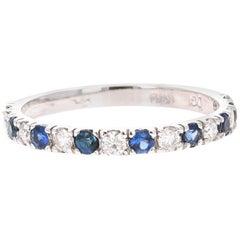 0.73 Carat Sapphire Diamond White Gold Band