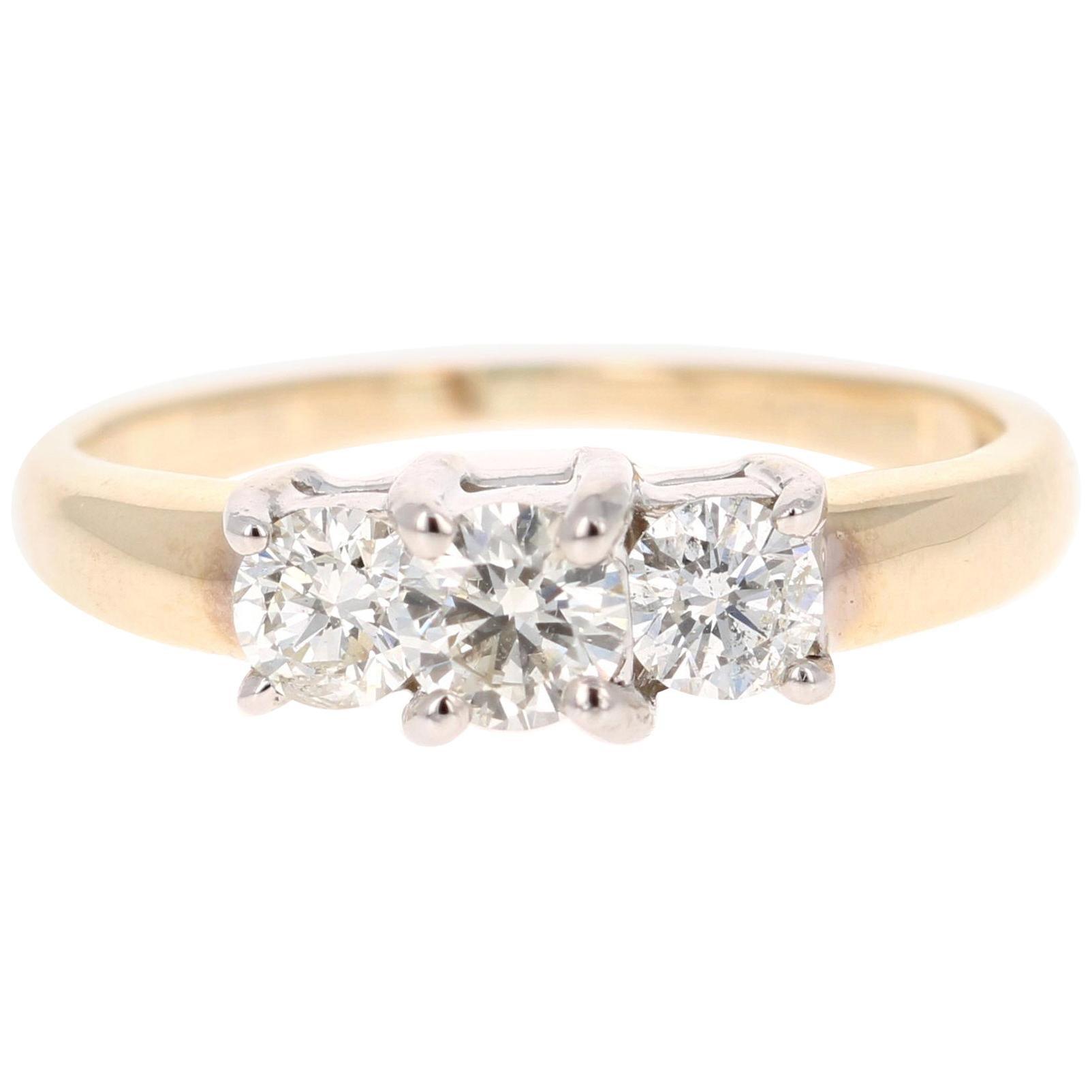 0.73 Carat Three-Stone Diamond 14 Karat Yellow Gold Engagement Ring