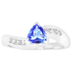 0.73 Carat Trillion Shaped Tanzanite and 0.19 Carat Diamond Ring