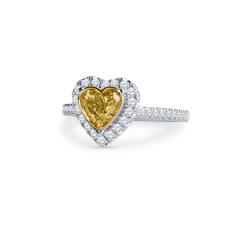 0.73 Intense Yellow Heart Shaped Diamond(GIA) Engagement Ring, 0.43 CTW Diamonds 3
