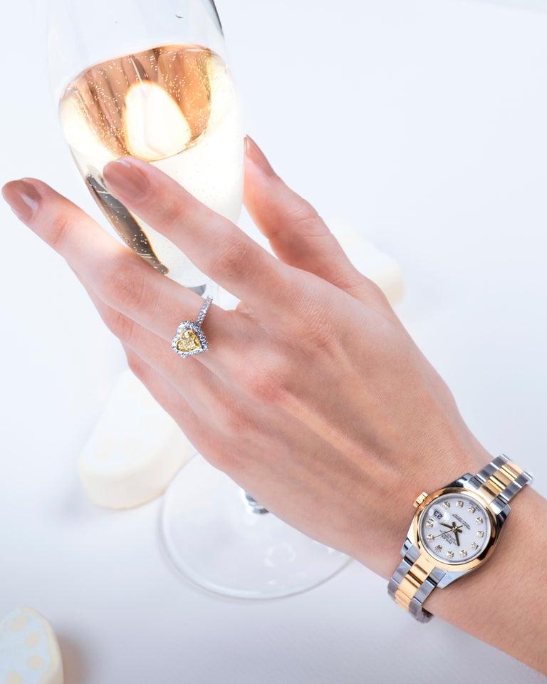 0.73 Intense Yellow Heart Shaped Diamond(GIA) Engagement Ring, 0.43 CTW Diamonds 4