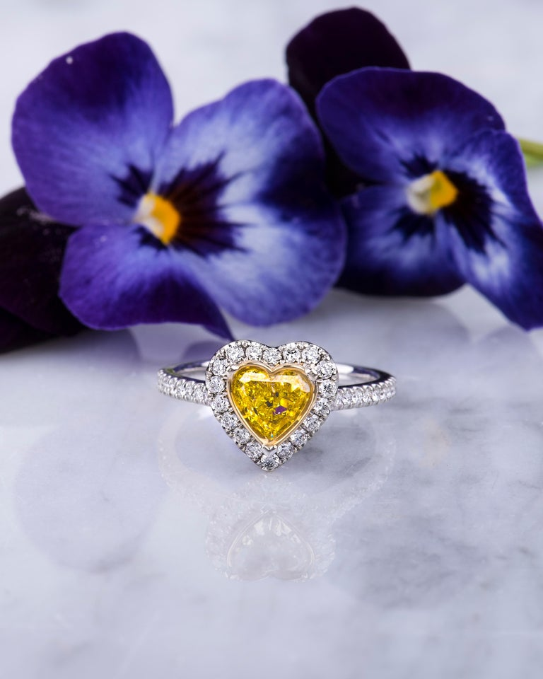 0.73 Intense Yellow Heart Shaped Diamond(GIA) Engagement Ring, 0.43 CTW Diamonds 5