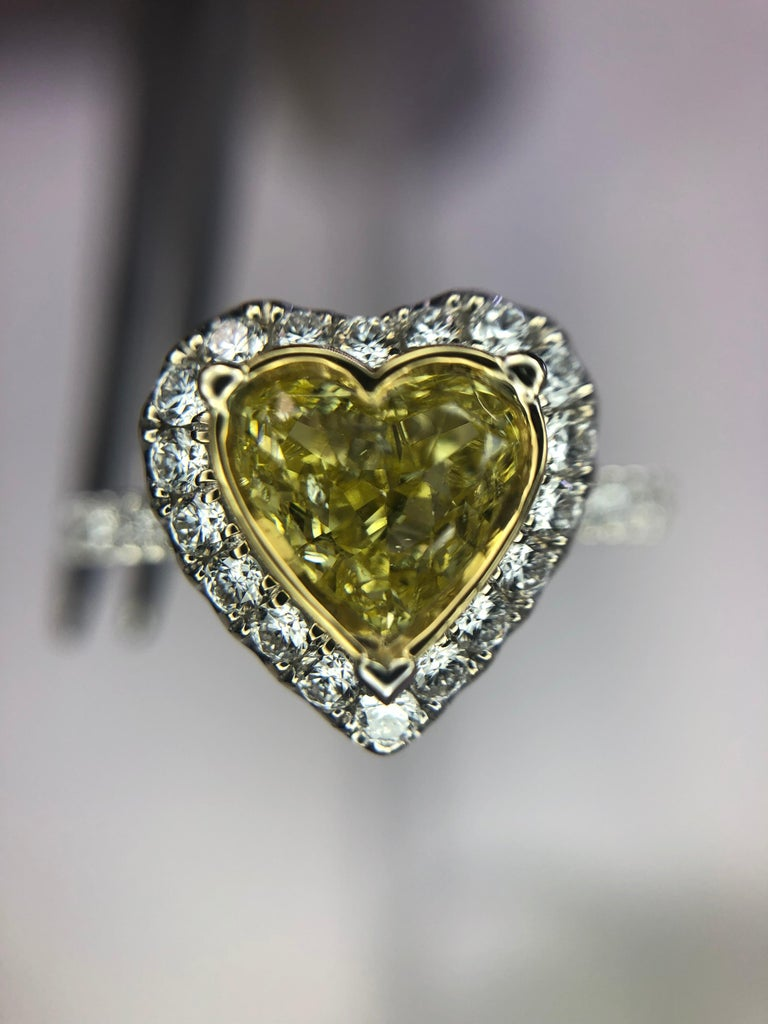 0.73 Intense Yellow Heart Shaped Diamond(GIA) Engagement Ring, 0.43 CTW Diamonds 6