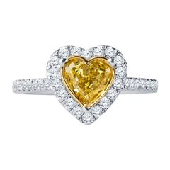 0.73 Intense Yellow Heart Shaped Diamond(GIA) Engagement Ring, 0.43 CTW Diamonds