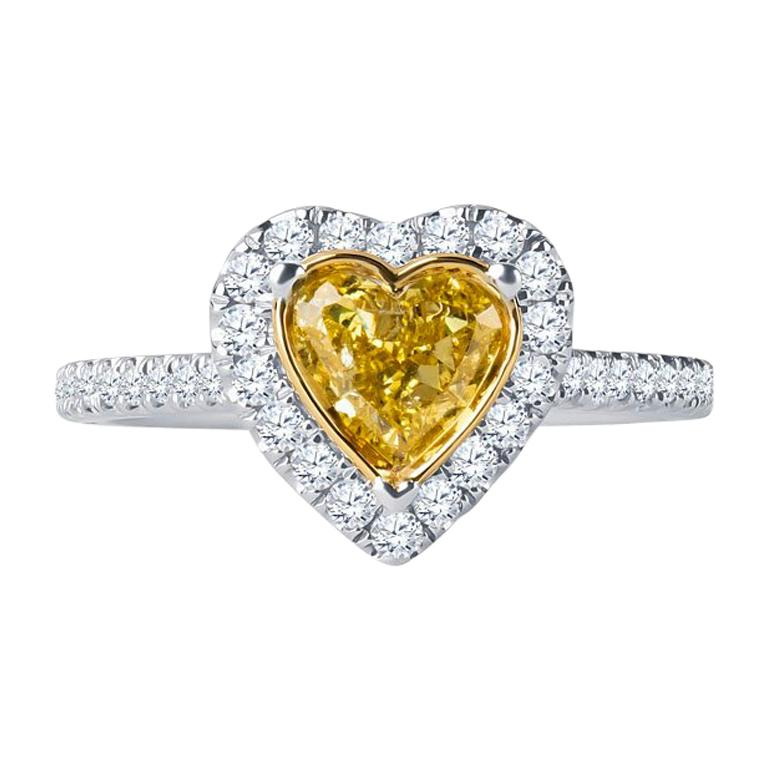 0.73 Intense Yellow Heart Shaped Diamond(GIA) Engagement Ring, 0.43 CTW Diamonds 1