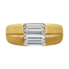 0.73 Carat & 0.77ct Twin Emerald-Cut Diamond 22ct Yellow Gold Ring by Hancocks