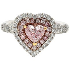 0.74 Carat GIA Certified Heart-Shape Pink Diamond Amour Cluster Engagment Ring
