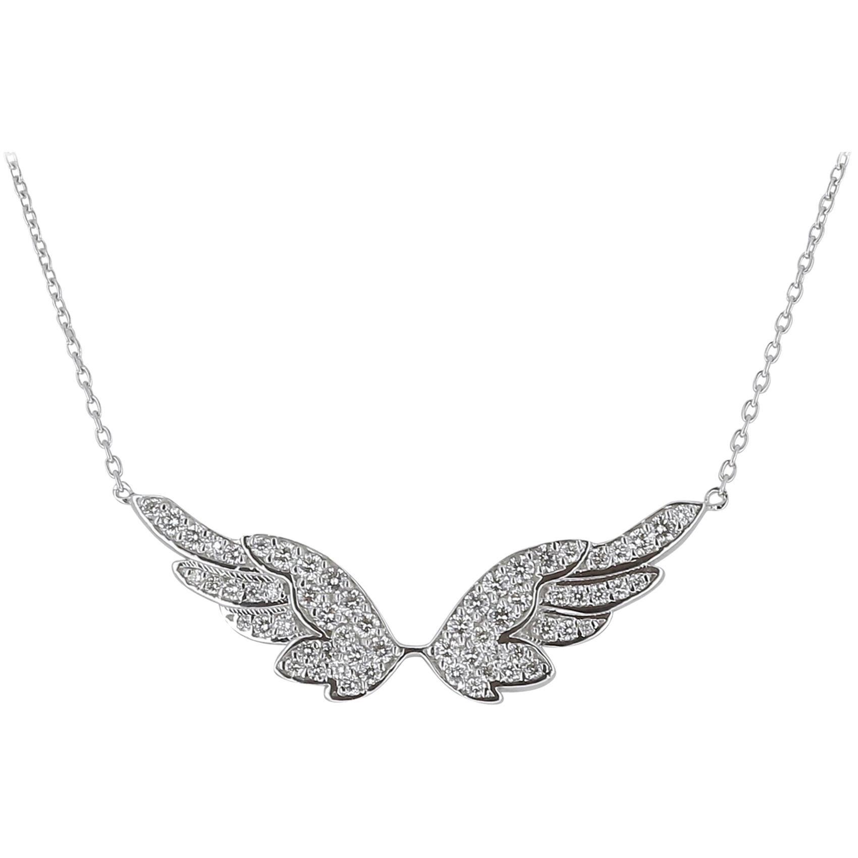 0.74 Carat GVS Round Diamond Angel Wings Chain Necklaces 18 Karat Gold/Pendant