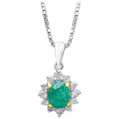 0.74 Carat Oval-Cut Colombian Emerald and Diamond 18 Karat White Gold Pendant