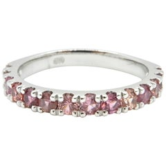 0.74 Carat Pink Sapphire and 18 Carat White Gold Wedding Ring