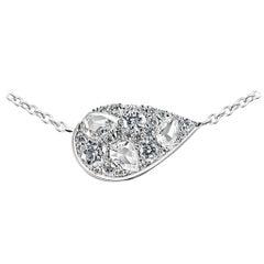 0.74 Carat Rose Cut and Brilliant Cut Diamond Pave Pendant with Necklace