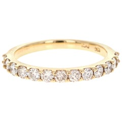 0.74 Carat Round Cut Diamond Yellow Gold Stackable Band