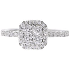 0.74 Carat Round Diamond Cushion Ring 18 Karat White Gold Fashion Ring