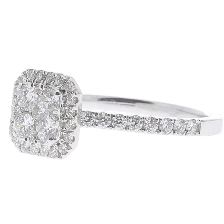 Contemporary 0.74 Carat Round Diamond Cushion Ring 18K White Gold FashionRing Engagement Ring For Sale
