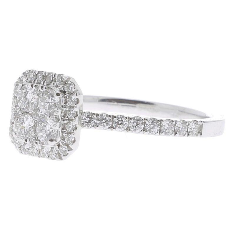 Contemporary 0.74 Carat Round Diamond Cushion Ring 18K White Gold FashionRing Engagement Ring