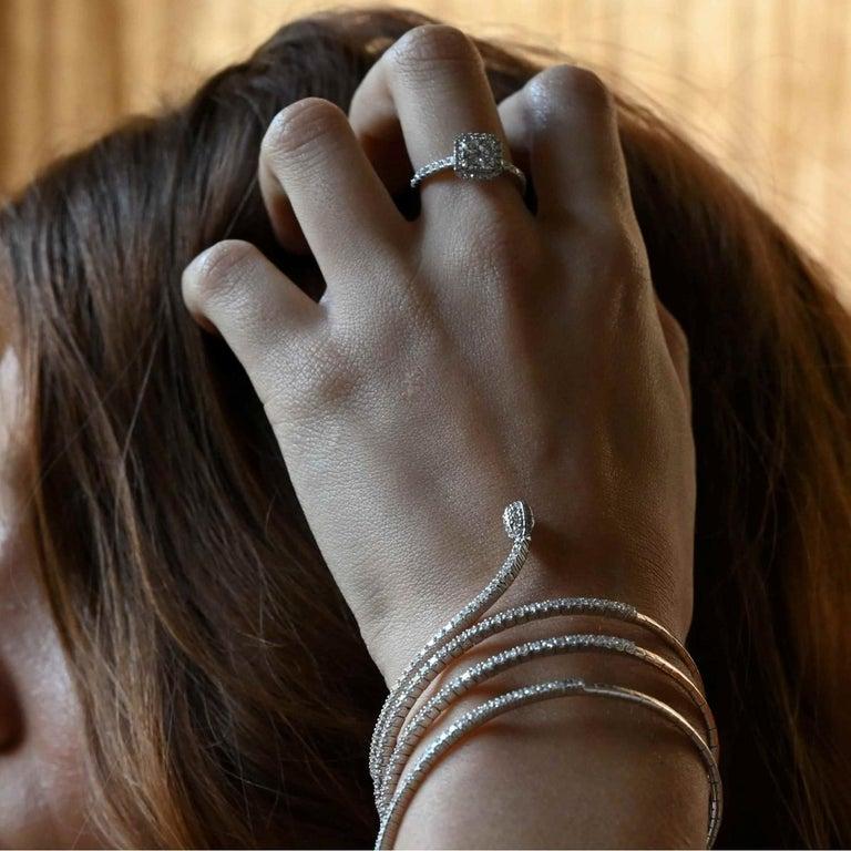 Round Cut 0.74 Carat Round Diamond Cushion Ring 18K White Gold FashionRing Engagement Ring For Sale