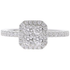 0.74 Carat Round Diamond Cushion Ring 18K White Gold FashionRing Engagement Ring