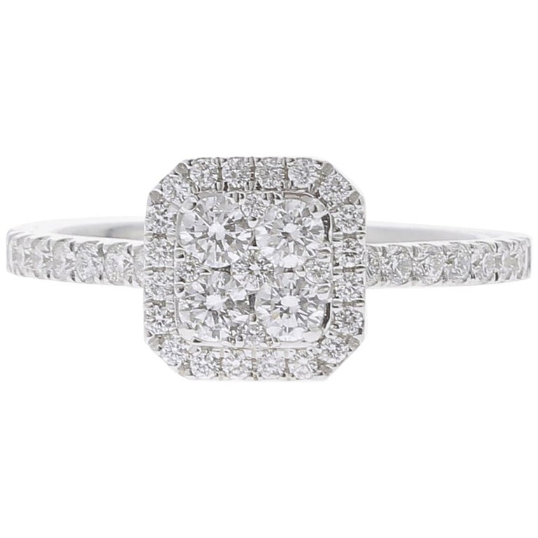 c4904884070049 0.74 Carat Round Diamond Cushion Ring 18K White Gold FashionRing Engagement  Ring For Sale